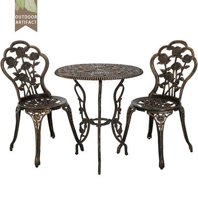 New Outdoor Bistro Set Patio Bistro Table Set 3 Piece Table and Chairs Garden  ()