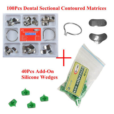 100pc Dental Sectional Contoured Matrices Matrix Delta Ring40pcs Add-on Wedges