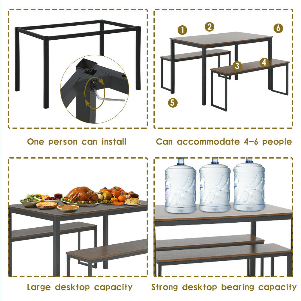 Dining Table Set Dining Table and Bench Kitchen Table and Chairs for 4 People Dining Sets