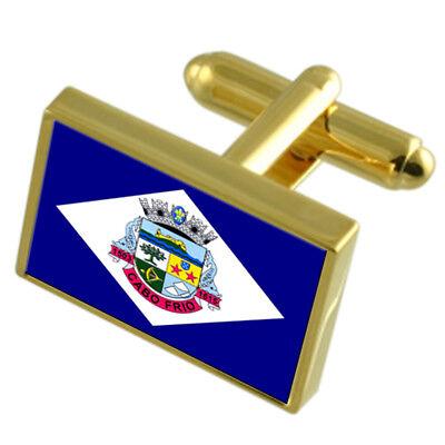 Cabo Frio City Rio De Janeiro State Gold Flag Cufflinks Engraved Box