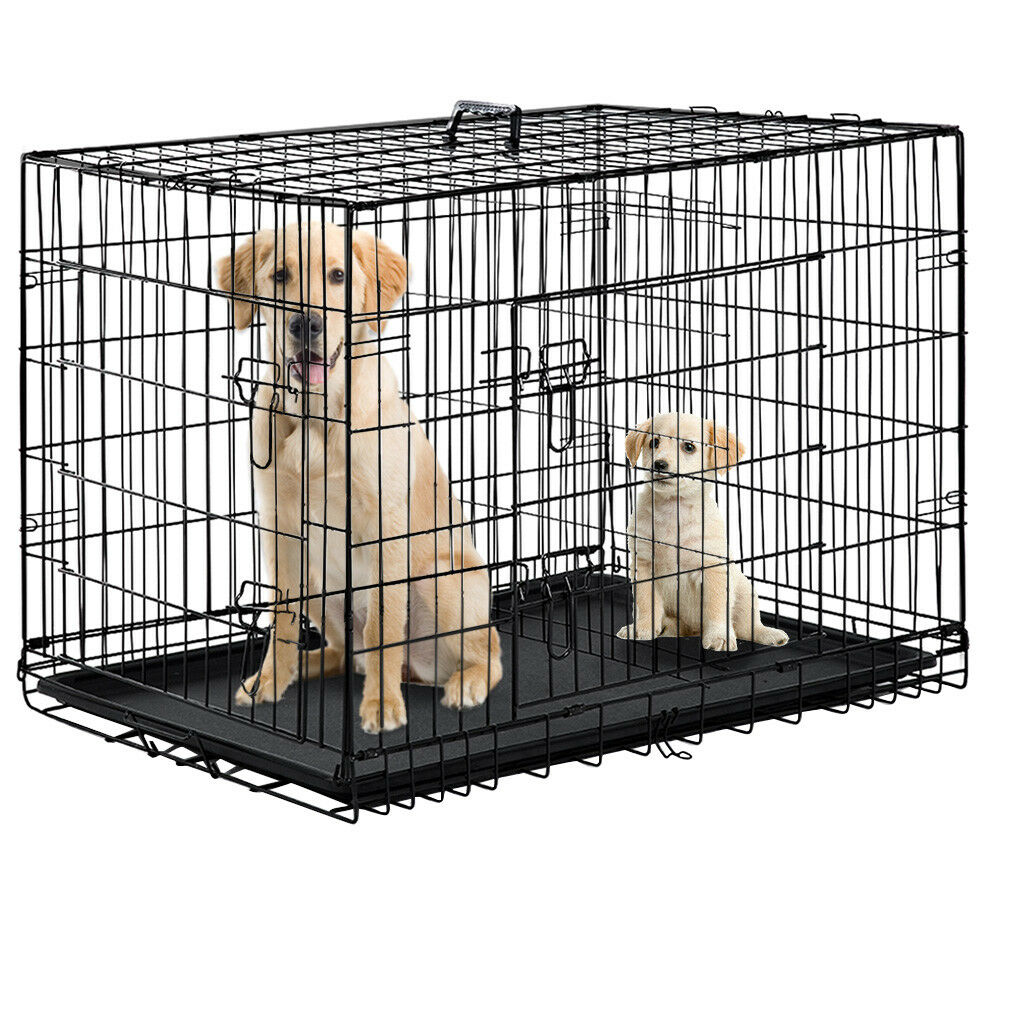 "Black 48"" 2 Door Pet Cage Folding Dog w/Divider Cat Crate Ca"