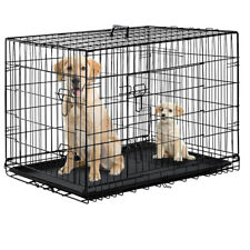Black 48 2 Door Pet Cage Folding Dog w/Divider Cat Crate Cage Kennel w/Tray DC