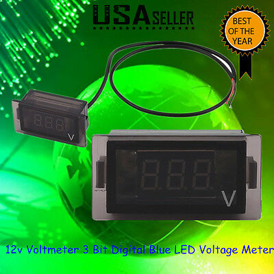New 3 Digit Blue Led 12v Rectangle Digital Voltmeter Car Marine Rv Audio Suv Bp