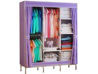 Fabric Wardrobe with Shelves Purple - FREE!