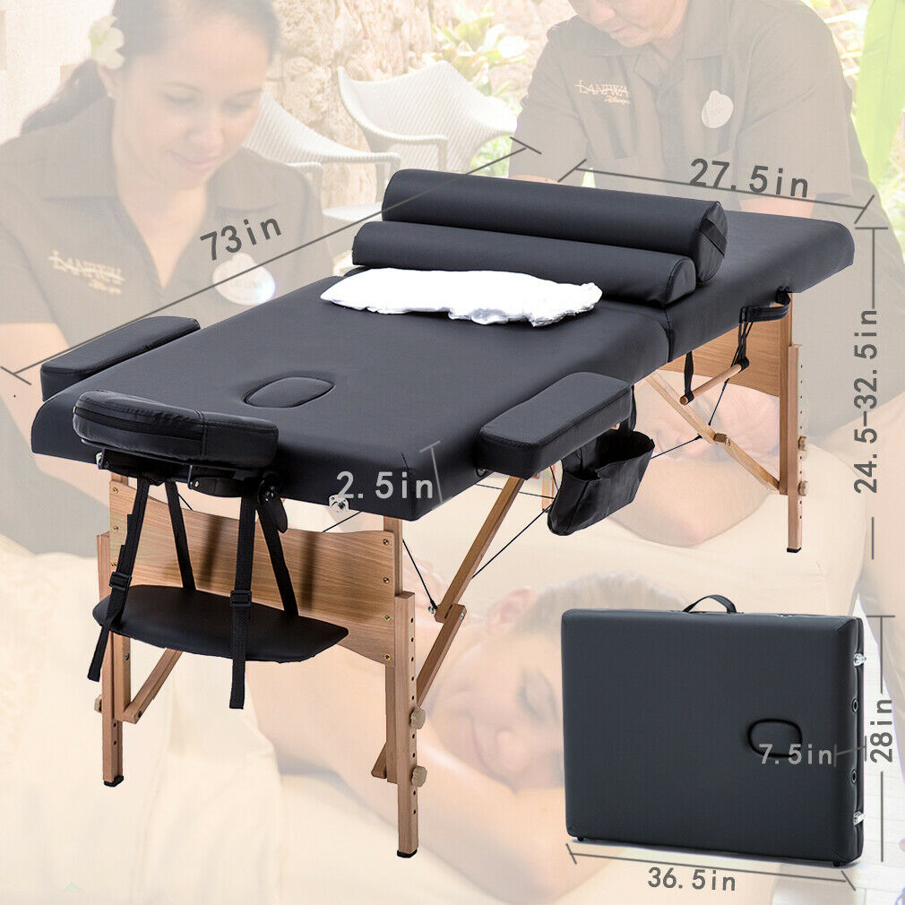 New MassageTable Massage Bed Spa Bed 73 inch Long W/Sheet Cradle Bolsters Hanger Health & Beauty