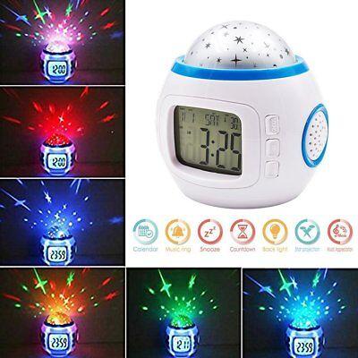 Music Star Master Night Light Lamp Child Kids Lazy Alarm Clock Time 24 / 12 Date