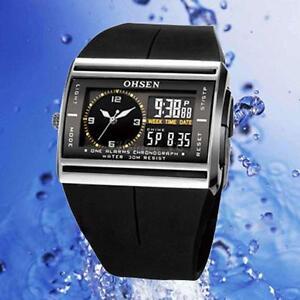 OHSEN Waterproof Digital LCD Alarm Date Mens Military  Rubber Watch AU