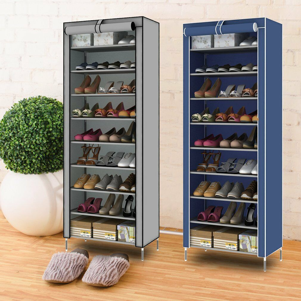 Étagères à chaussures armoire placard10 niveaux meuble rangement chaussure gris   eBay