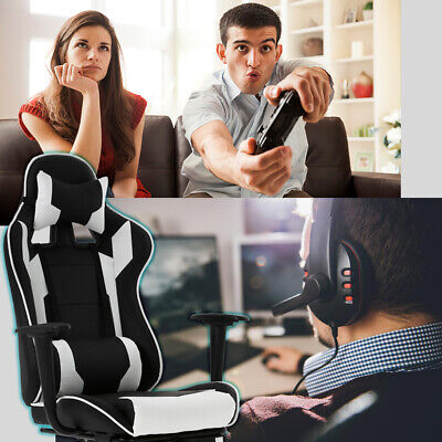 White Office Chair High back Computer Racing Gaming Chair Ergonomic Chair Business & Industrial