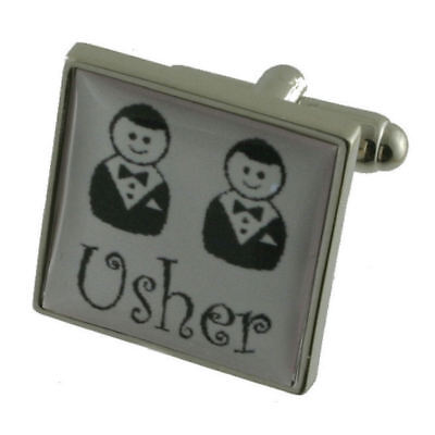 Usher Picture Grey Wedding Cufflinks Gift (Usher Picture)