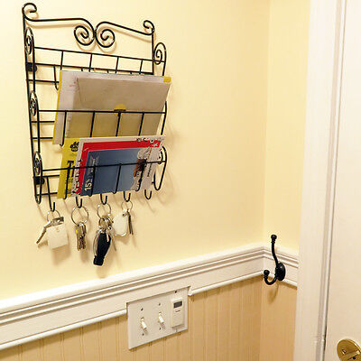 Evelots 3 Tier Mail   Letter Organizer Wall Mount With Key Holders