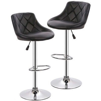 New PU Leather Bar Stools Modern Swivel Dinning Kitchen Chair, Set Of 2 - Kitchen Stools Chairs