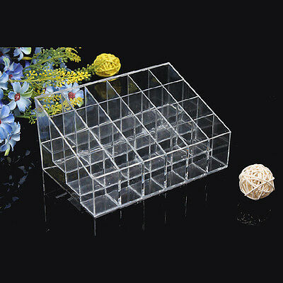 Clear 24 Lipstick Makeup Stand Display Trapezoid Holder Case Cosmetic Organizer