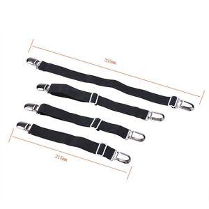 Adjustable-Sheet-Mattress-Corner-Straps-Suspenders-Elastic-Smooth-Tight-Bed-Blk