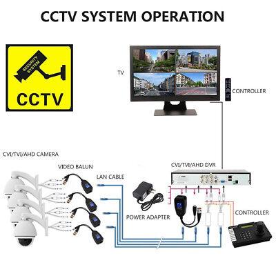 4 Pair CCTV Coax BNC Video /& Power Balun Transceiver to CAT5e 6 Surge Protection