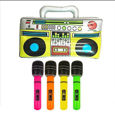 4pcs Inflatable Microphone Radio Children Blow Up Fancy Dress Party Bag Prop - Blow Up Microphone