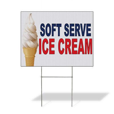 Weatherproof Yard Sign Soft Served Ice Cream Blue Red Food Bar Restaurant Truck