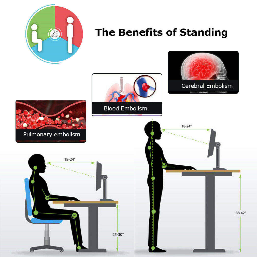 Standing Desk Coverter Stand Up Desk Adjustable Desk 32 inches Riser Home Office Furniture