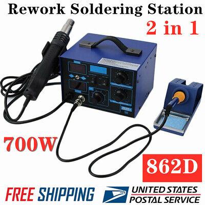 2 In1 Smd Rework Soldering Station Hot Air Gun Solder Iron Dc Power Supply 862d
