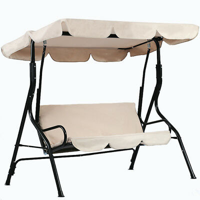 Outdoor Swing Patio Swing steel Porch Lounge Chair Seats 3 Person w/ Top Canopy