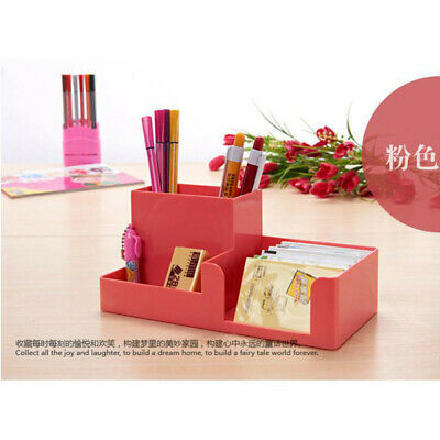 Office Home Plastic Desk Pen Pencil Holder Storage Stationery Organizer Pink Jp