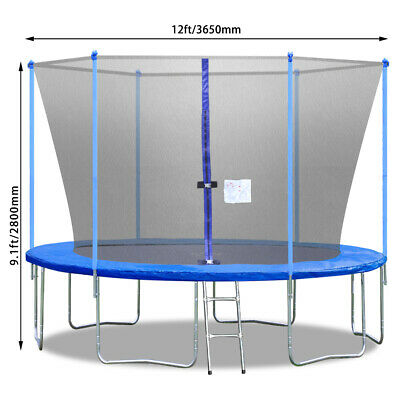 FDW 12FT Trampoline with Ladder and Safety Enclosure Net Jump Trampoline Outdoor Fitness Equipment & Gear