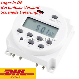 Neu Digital LCD Zeitschaltuhr AC 12V 16A programmierbar Timer Schalter Zeit Gut