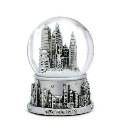Silver NYC Skyline Snow Globe - New York City Souvenir Christmas Gift | 3.5 Inch