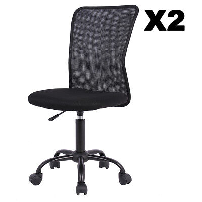 Set Of 2 Mesh Office Chair Computer Mid-Back Task Swivel Seat Ergonomic Chair Back Mesh Seat Office Chair