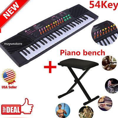 54 Keys Music Electronic Keyboard Electric Piano + Adjustable Padded Bench Seat