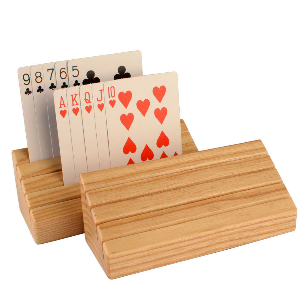 Solid Ash Wood Playing Card Holder Rack Organizer - Set of 2