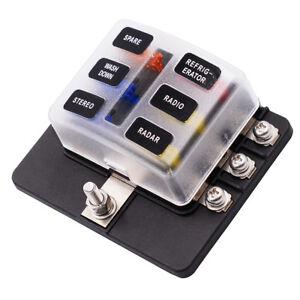 6-Way Blade Fuse Box Block Holder LED Indicator for 12V 24V Car Marine MA1284 US