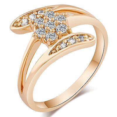 Womens Cocktail Gold Filled Wedding Flower Engagement Love Rings Size 5 7 8 9