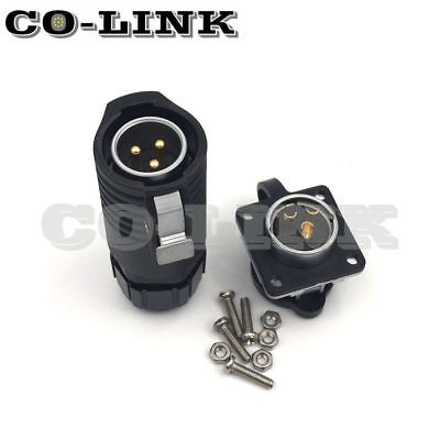 - LP20 3Pin Waterproof Connector IP67 High Voltage Power Cable Bulkhead Connector