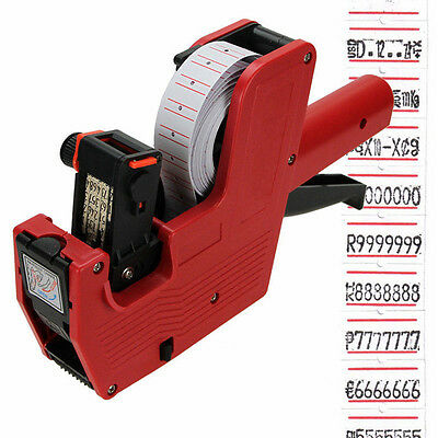 Mx-5500 8 Digits Price Tag Gun 200 White W Red Lines Labels 1 Ink Us Ship