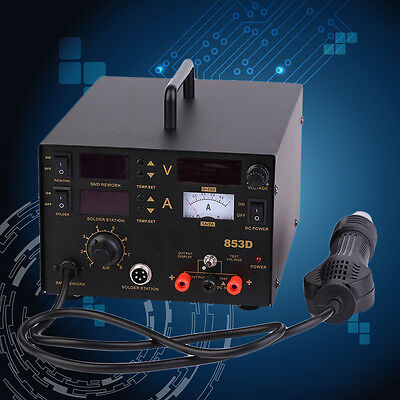3in1 Smd Rework Soldering Station Hot Air Gun Solder Iron Dc Power Supply 853d O