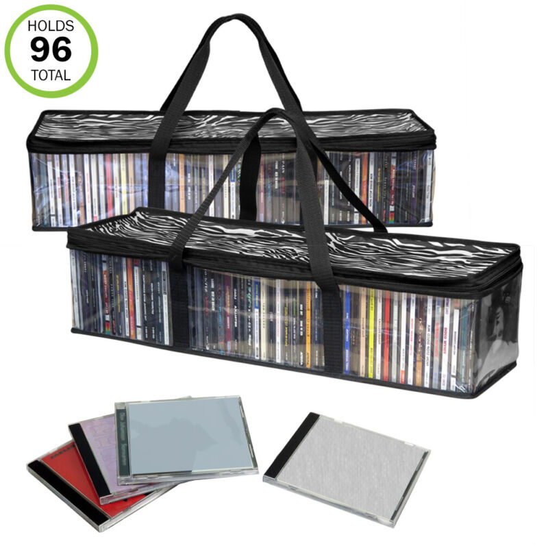 Evelots CD Storage Bag-New/Improved-Sturdy-Carrying Handles-Set/2-Total 96 CD