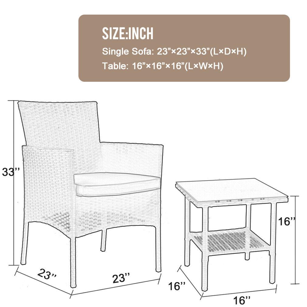 Outdoor Patio Furniture Sets 3 Pieces Patio Set Wicker Bistro Set Rattan Chair Home & Garden