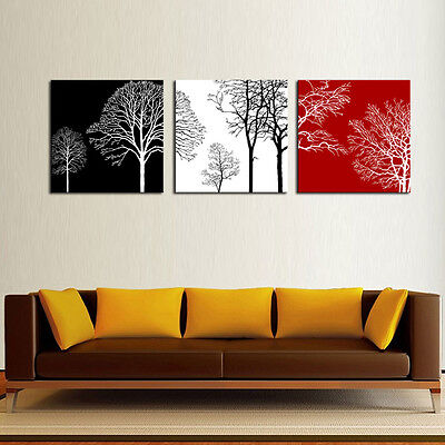 Print Canvas Painting Black White and Red Tree Picture Abstract Wall Art