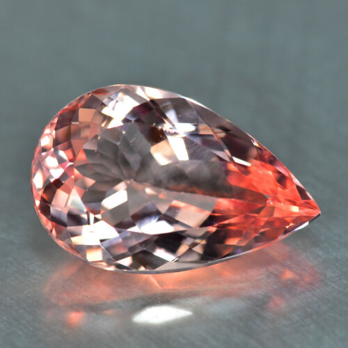 9.11CT HUGE, OPEN TRANSPARENT QUALITY UNTREATED PEACH PINK MORGANITE GEMSTONE