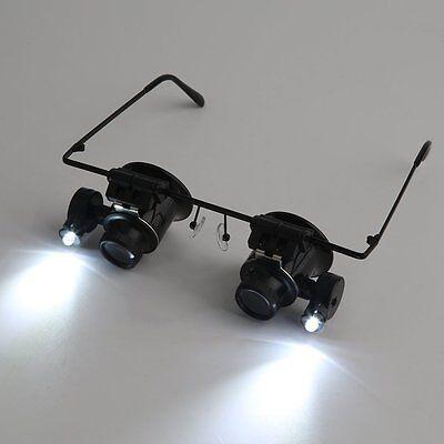 20x fach Juwelier Uhrmacher Lupe LED Brillenlupe Lupenbrille Vergrößerungsglas &