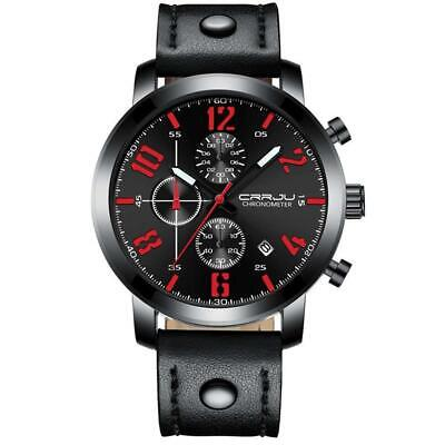 CRRJU Men's Sports Watch Multi-Function Chronograph Luminous Watch Leather Band