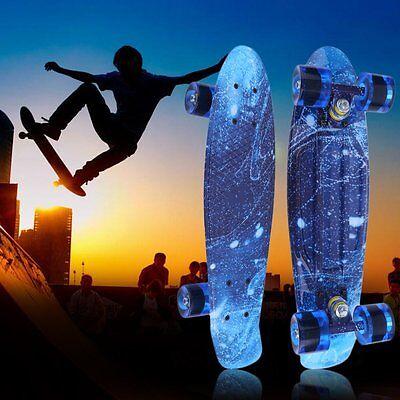 "22""Retro Mini Skateboard Cruiser Style Complete Deck Plastic Skate Board EK"