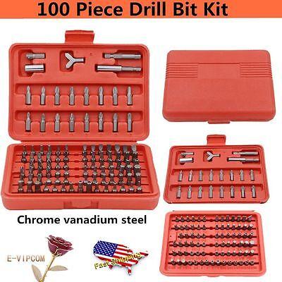 Drill Driver Accessory Set - 100-pc Accessory Kit Drill Bit Driver Screw Tools Set 31639 Case New OY