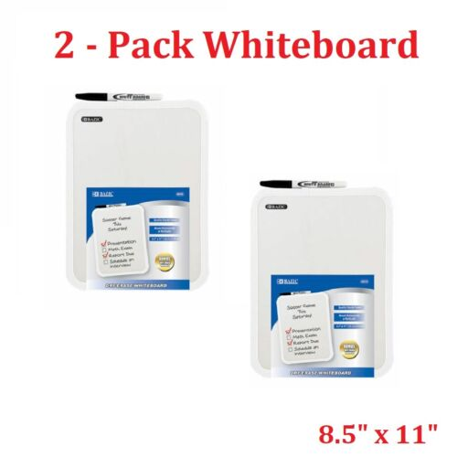 "Two BAZIC 8.5 X 11"" Small Dry Erase White Board With Marker Note Class Student"