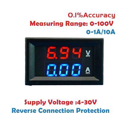 100V 10A DC Digital Voltmeter Ammeter Blue + Red LED Amp Volt Meter Gauge NEW 3o
