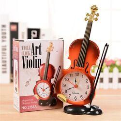 Unique Violin Shape Fiddle Quartz Table Alarm Clock Student Gift Home Decor
