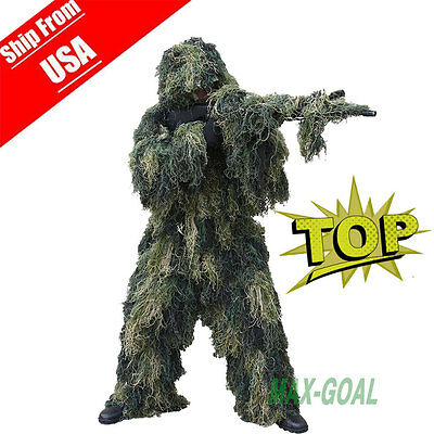 Ghillie Suit XL/XXL Camo Woodland Camouflage Forest Hunting 4-Piece + Bag US BA