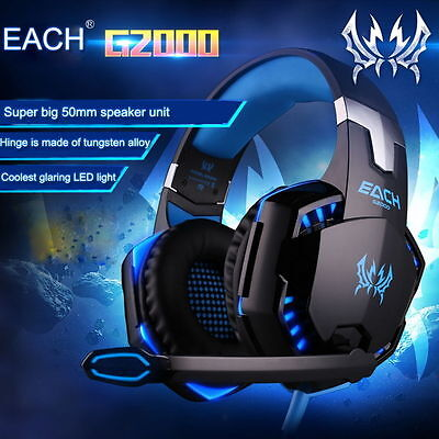 EACH G2000 Pro Game Gaming Headset 3.5mm LED Stereo PC Headphone w/ Microphone W