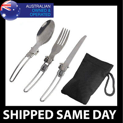 FOLDING HIKING CUTLERY Knife Fork Utensil Camping Survival Gear Stove Cookware